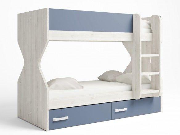 Litera 2 camas con 2 cajones color blanco nordic-azul talco  merkamueble