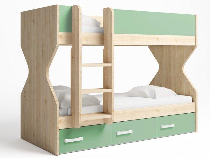 Litera 2 camas con 3 cajones color pino danés-verde talco  merkamueble
