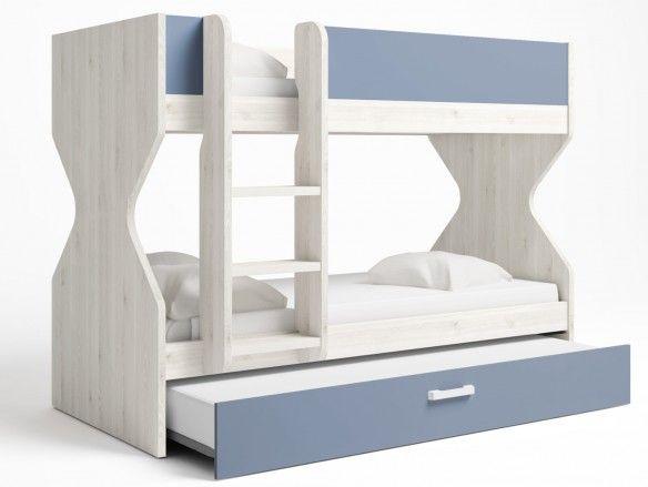 Litera 3 camas con nido arrastre color blanco nordic-azul talco  merkamueble