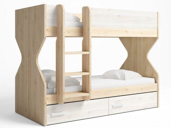 Litera 2 camas con 2 cajones color pino danés-blanco nordic  merkamueble