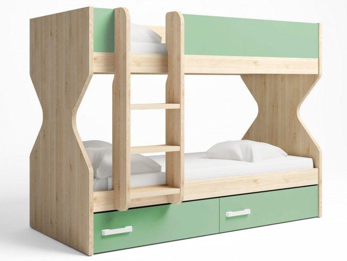 Litera 2 camas con 2 cajones color pino danés-verde talco  merkamueble