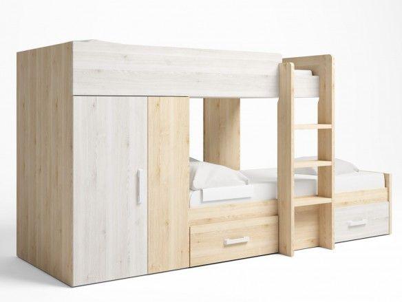 Litera tren 2 camas con 2 cajones y 2 puertas color pino danés-blanco nordic  merkamueble