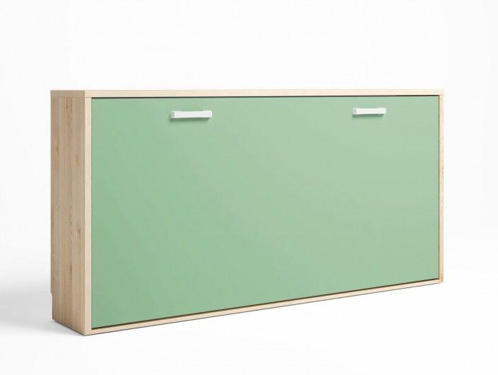 Cama abatible horizontal color pino danés-verde talco  merkamueble
