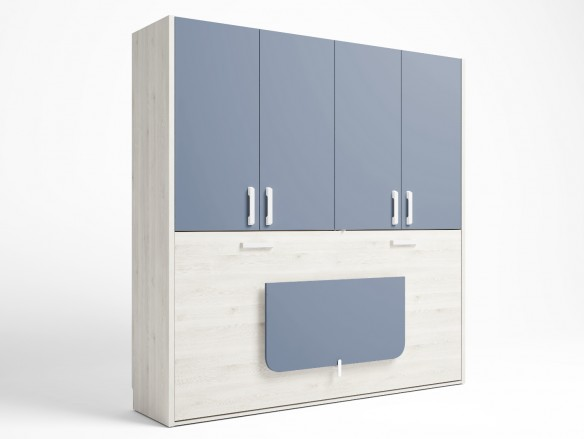 Cama abatible horizontal con mesa estudio plegable y armario 4 puertas color blanco nordic-azul talco  merkamueble