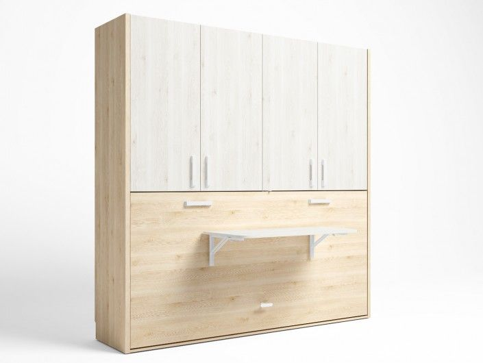 Cama abatible horizontal con mesa estudio plegable y armario 4 puertas color pino danés-blanco nordic  merkamueble