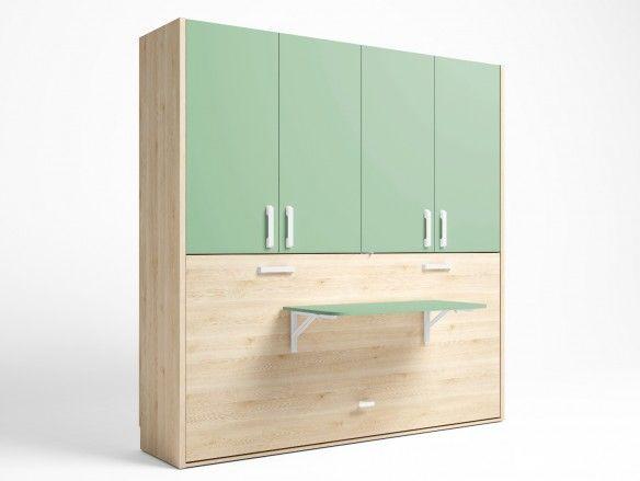 Cama abatible horizontal con mesa estudio plegable y armario 4 puertas color pino danés-verde talco  merkamueble