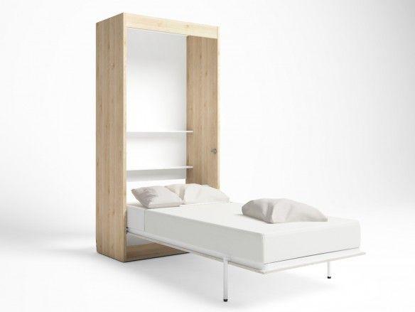 Cama abatible vertical color pino danés-blanco nordic  merkamueble
