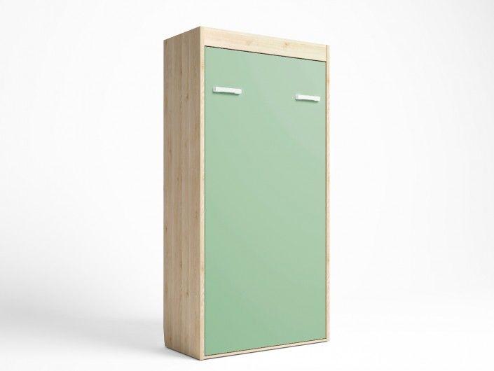 Cama abatible vertical color pino danés-verde talco  merkamueble