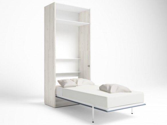 Cama abatible vertical con altillo 2 puertas color blanco nordic-azul talco  merkamueble