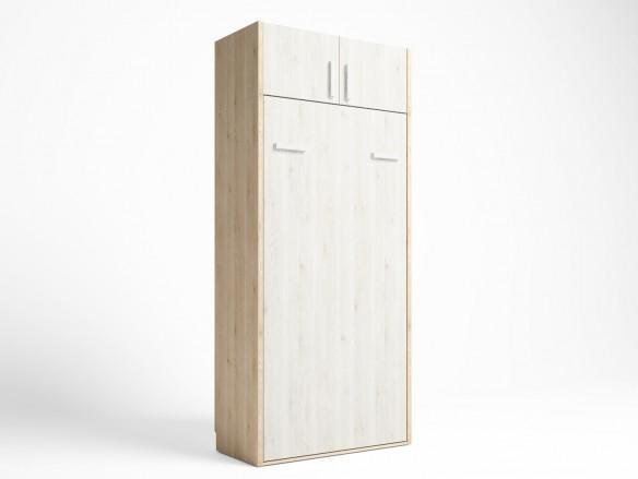 Cama abatible vertical con altillo 2 puertas color pino danés-blanco nordic  merkamueble
