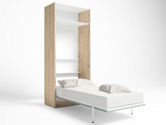 Cama abatible vertical con altillo 2 puertas color pino danés-verde talco  merkamueble