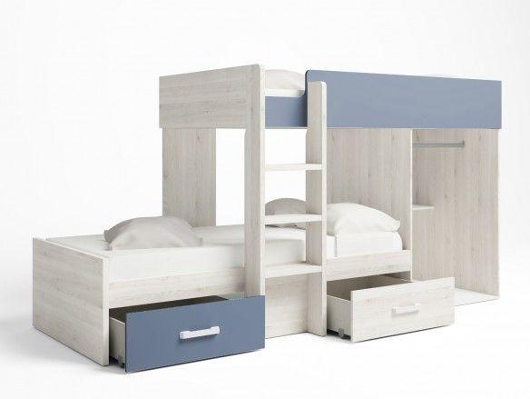 Litera tren 2 camas con 2 cajones y 2 puertas color blanco nordic-azul talco  merkamueble