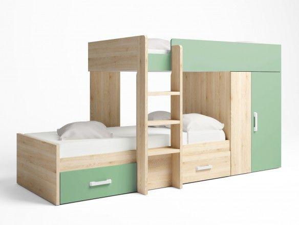 Litera tren 2 camas con 2 cajones y 2 puertas color pino danés-verde talco  merkamueble