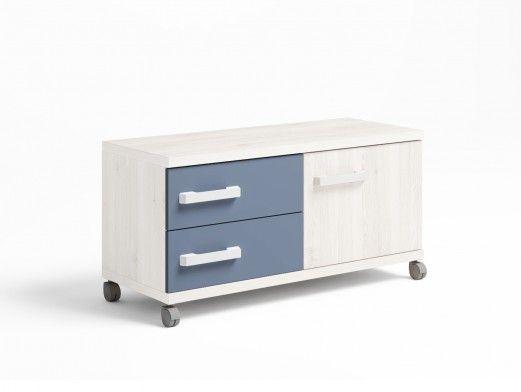 Mueble bajo 1 puerta y 2 cajones con ruedas color blanco nordic-azul talco  merkamueble