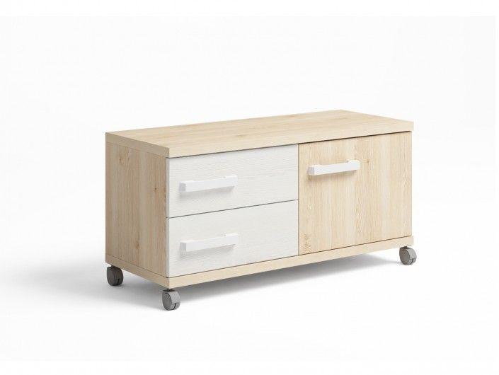 Mueble bajo 1 puerta y 2 cajones con ruedas color pino danés-blanco nordic  merkamueble