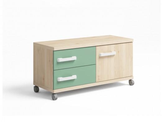 Mueble bajo 1 puerta y 2 cajones con ruedas color pino danés-verde talco  merkamueble