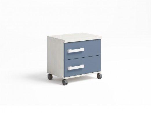 Mesita 2 cajones con ruedas color blanco nordic-azul talco  merkamueble