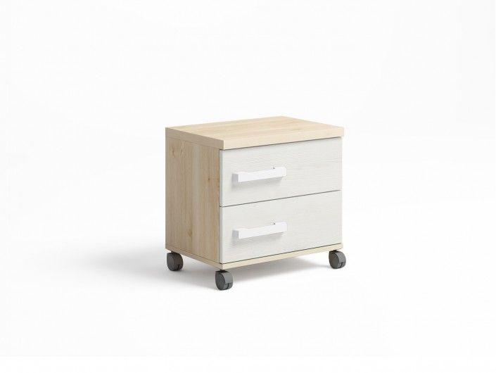 Mesita 2 cajones con ruedas color pino danés-blanco nordic  merkamueble