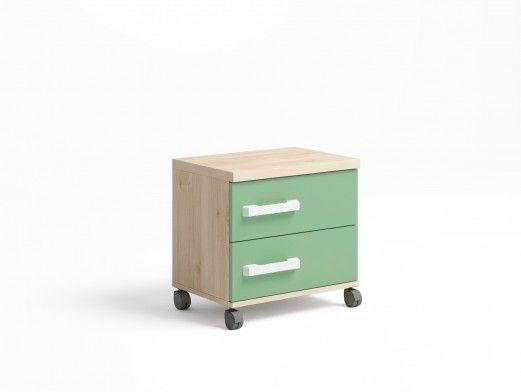 Mesita 2 cajones con ruedas color pino danés-verde talco  merkamueble