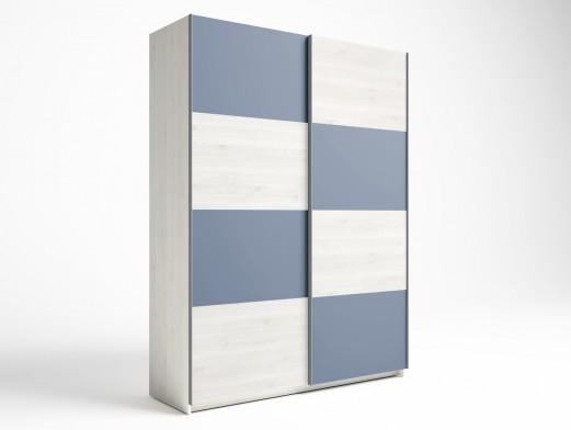 Armario 2 puertas correderas color blanco nordic-azul talco  merkamueble