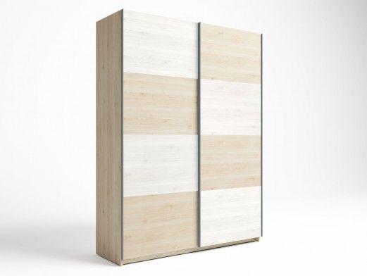 Armario 2 puertas correderas color pino danés-blanco nordic  merkamueble