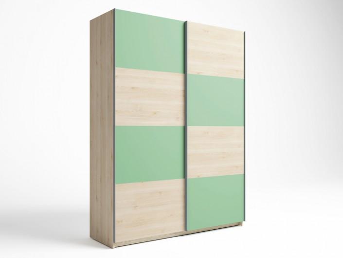 Armario 2 puertas correderas color pino danés-verde talco  merkamueble
