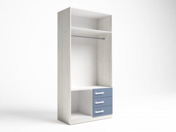 Armario 2 puertas y 3 cajones color blanco nordic-azul talco  merkamueble