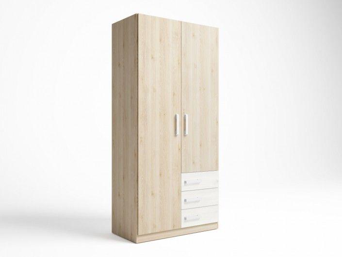 Armario 2 puertas y 3 cajones color pino danés-blanco nordic  merkamueble