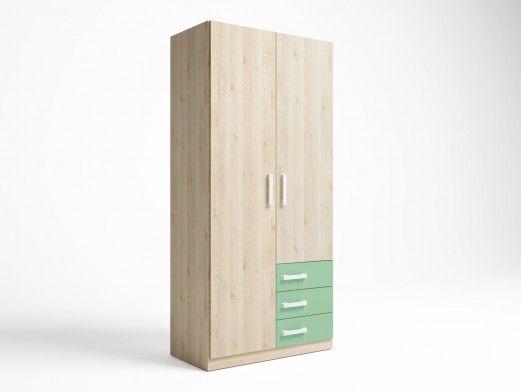 Armario 2 puertas y 3 cajones color pino danés-verde talco  merkamueble