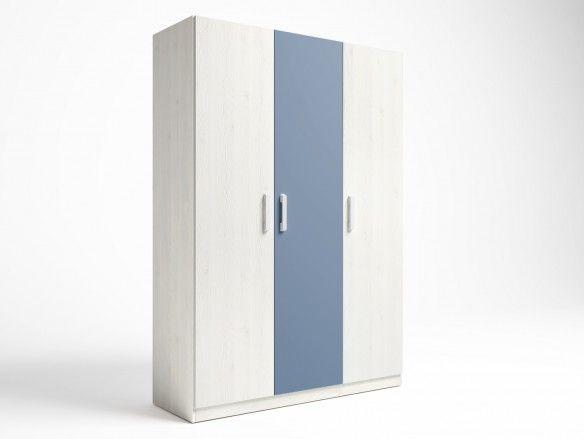 Armario 3 puertas color blanco nordic-azul talco  merkamueble