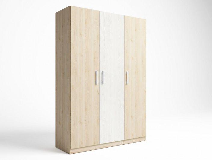 Armario 3 puertas color pino danés-blanco nordic  merkamueble