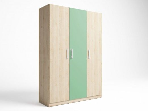 Armario 3 puertas color pino danés-verde talco  merkamueble