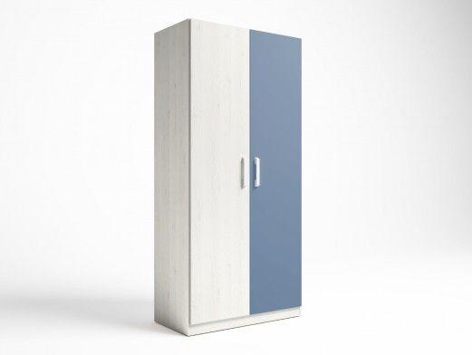 Armario 2 puertas color blanco nordic-azul talco  merkamueble