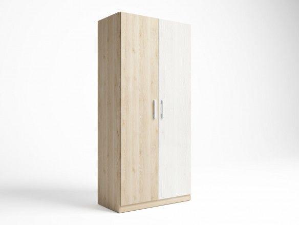 Armario 2 puertas color pino danés-blanco nordic  merkamueble