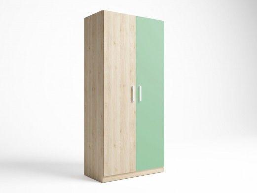 Armario 2 puertas color pino danés-verde talco  merkamueble