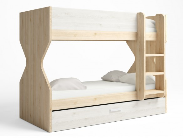 Litera 3 camas con nido arrastre color pino danés-blanco nordic  merkamueble
