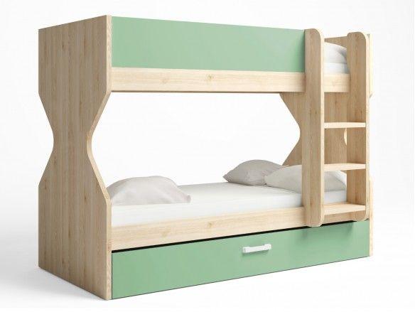 Litera 3 camas con nido arrastre color pino danés-verde talco  merkamueble
