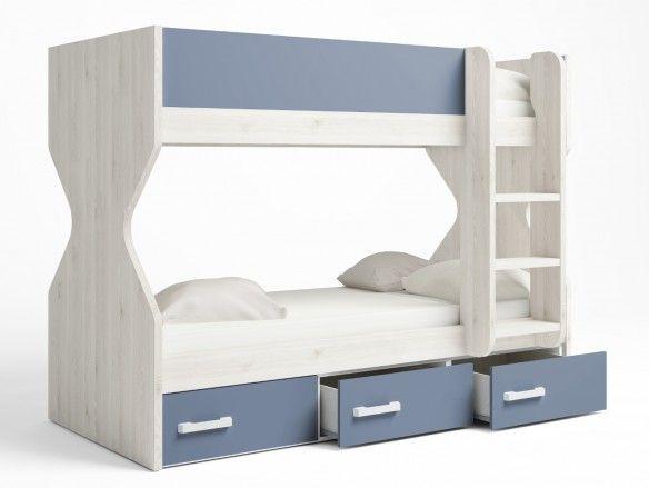 Litera 2 camas con 3 cajones color blanco nordic-azul talco  merkamueble
