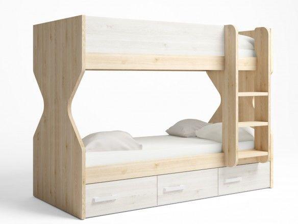 Litera 2 camas con 3 cajones color pino danés-blanco nordic  merkamueble