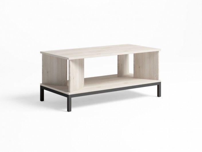 Mesa de centro rectangular y patas color blanco nordic-grafito  merkamueble