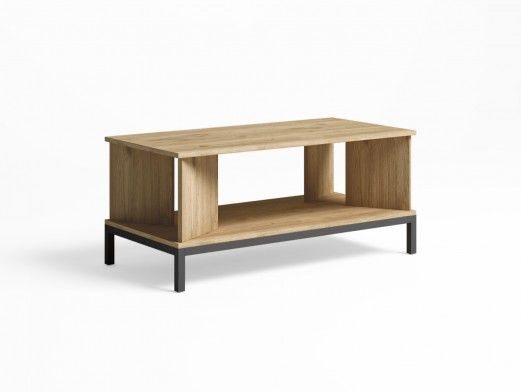 Mesa de centro rectangular con patas color naturale-grafito  merkamueble