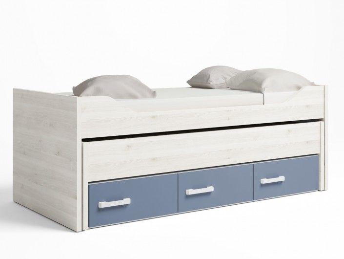 Compacto 2 camas y 3 cajones color blanco nordic-azul talco  merkamueble