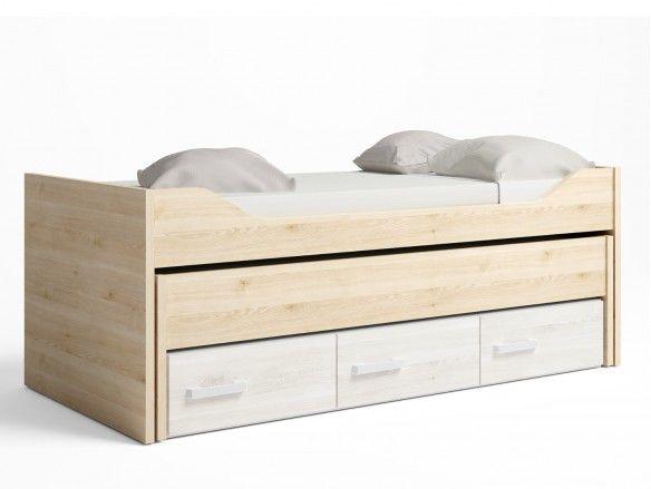 Compacto 2 camas y 3 cajones color pino danés-blanco nordic  merkamueble