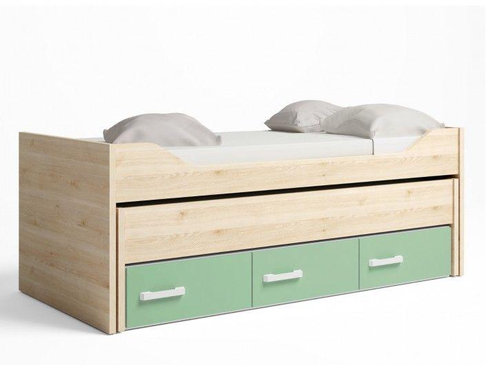 Compacto 2 camas y 3 cajones color pino danes-verde talco  merkamueble