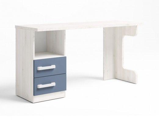 Mesa estudio con 2 cajones + hueco color blanco nordic-azul talco  merkamueble
