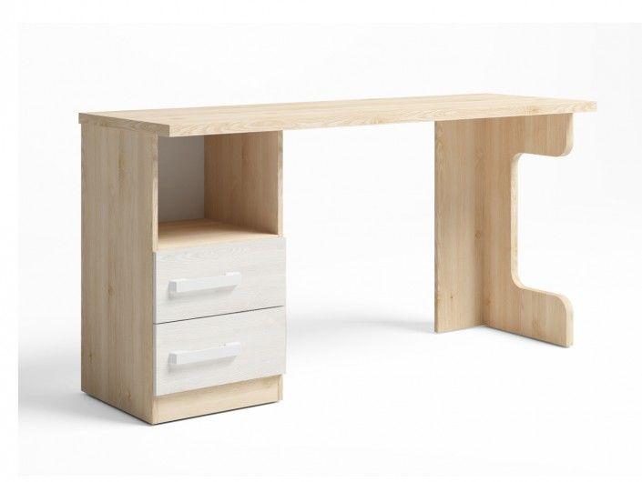 Mesa estudio con 2 cajones + hueco color pino danés-blanco nordic  merkamueble