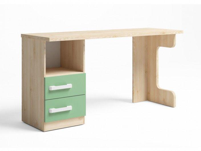 Mesa estudio con 2 cajones + hueco color pino danés-verde talco  merkamueble