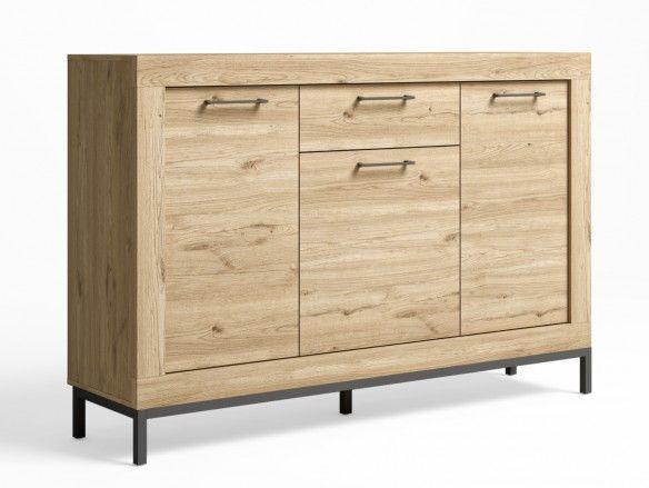 Aparador 3 puertas, 1 cajón y patas color naturale-grafito  merkamueble