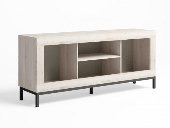 Mueble tv 2 puertas y patas color blanco nordic-grafito  merkamueble