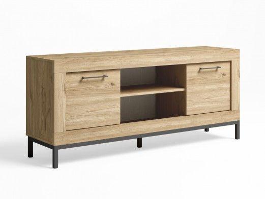 Mueble tv 2 puertas y patas color naturale-grafito  merkamueble